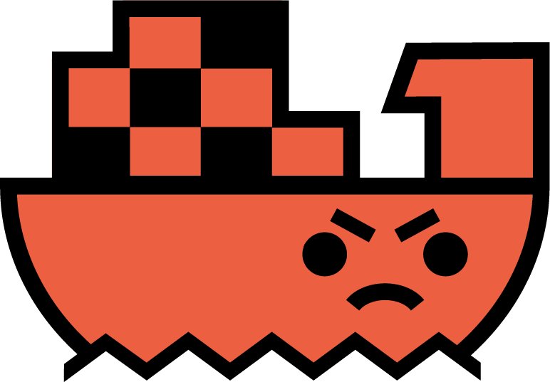Angry cartoon ship in red
